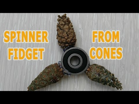 ★Free Spinner Fidget DIY with your own hands made of pine cones.
