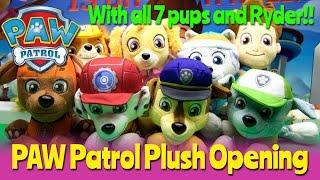 paw patrol plush opening feat everest chase marshall skye zuma rocky rubble