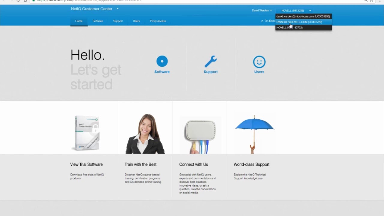 Managing Users in the Micro Focus and NetIQ Customer Centers