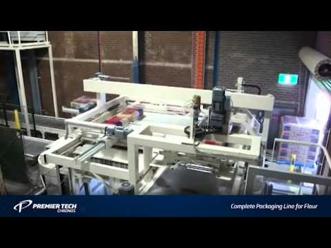Flour Packaging Machines for industrial bags (Bagging, Palletizing, Stretch Hooding)