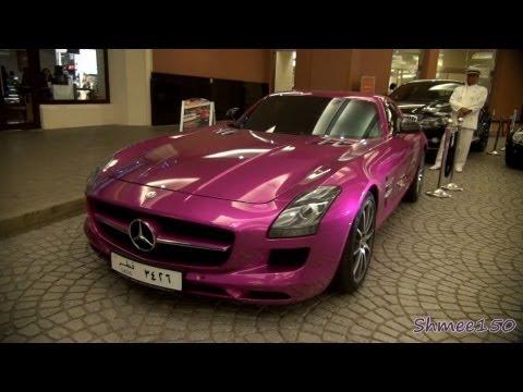 FOIL PINK Mercedes SLS AMG - Walkaround and Startup in Dubai