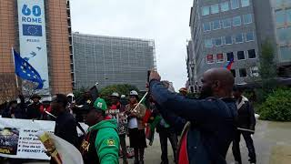 Ipob members rally in Brussels at European union commission headquarters in in October 2017 .