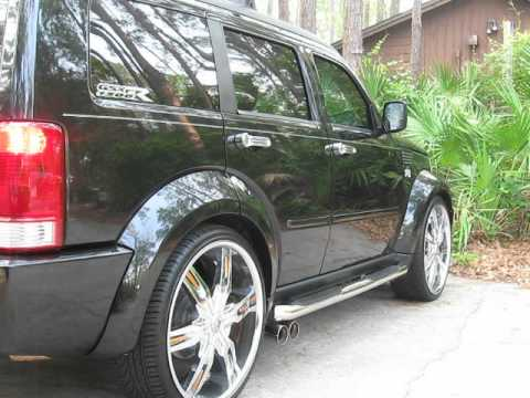08 dodge nitro with magnaflow exhaust 24 inch rims lowered 2 inch - YouTube