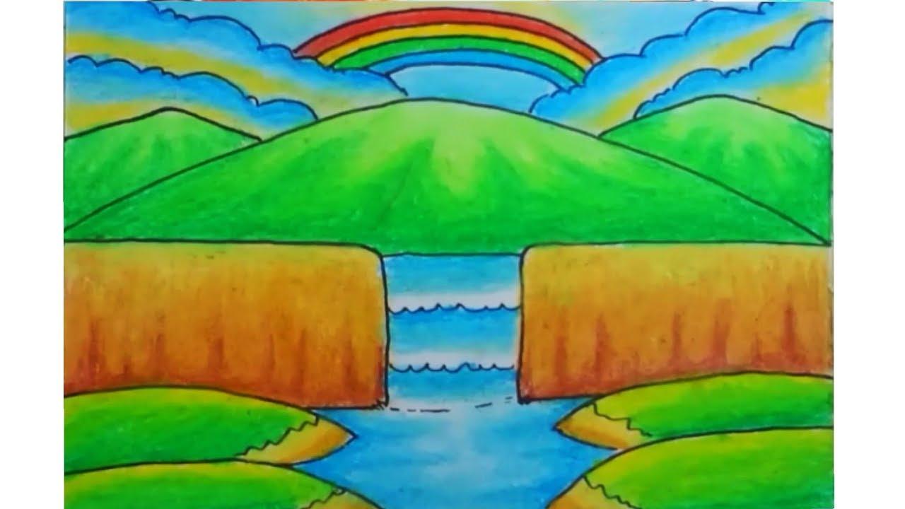 Cara Menggambar Pemandangan Air Terjun Dan Gunung Sederhana Dengan