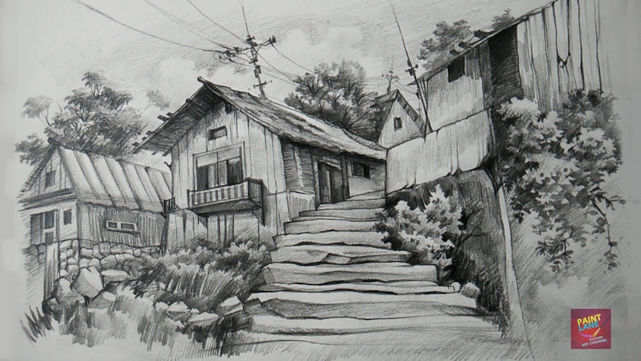 Beautiful How To Draw And Shade Old Wooden Houses With Pencil