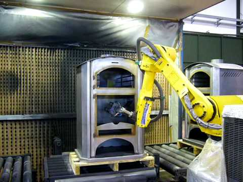 Fanuc Arcmate 120i used robot in a spray painting application at EUROBOTS - Rj3iB controller