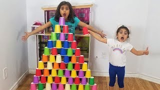 Sally Pretend Play Fun Stacking Giant color Cup Wall Challenge Kids Toys