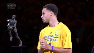 Stephen Curry Accepts MVP Trophy