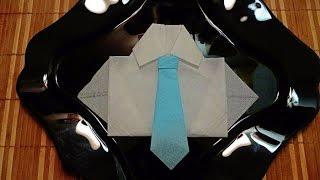 Как красиво сложить салфетку! Рубашка и галстук из салфетки ! Shirt and tie of napkins!(Рубашка и галстук из салфетки прекрасно украсят Ваш праздничный стол на 23 февраля! My page on Facebook Моя страница..., 2016-02-20T18:02:47.000Z)