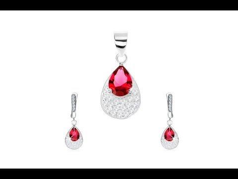 992048140 Šperky - Strieborná sada 925 - náušnice, prívesok, červená zirkónová  kvapka, číre zirkóny. Šperky eshop