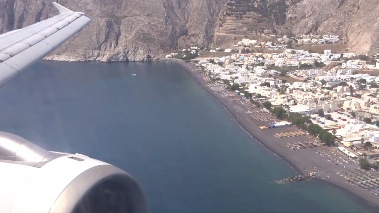 Aegean A321 - Stunning Landing at Santorini with Hard Braking