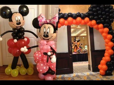 Decoración con globos de mickey mouse