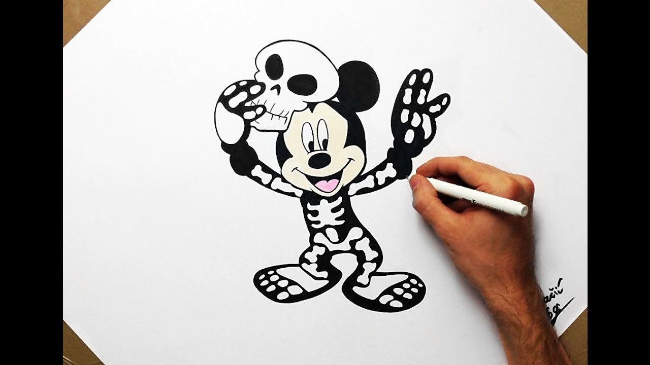 How To Draw Mickey Mouse In A Skeleton Costume Cartoon Disney Fan
