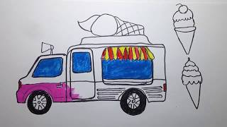How to Draw car Ice cream & Color By ColorHand