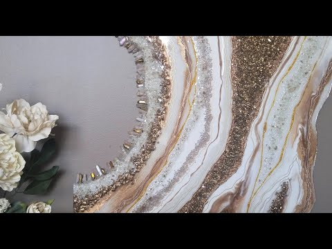 #47- Elegant Gold And White Resin Geode On MDF Board- On A Budget!