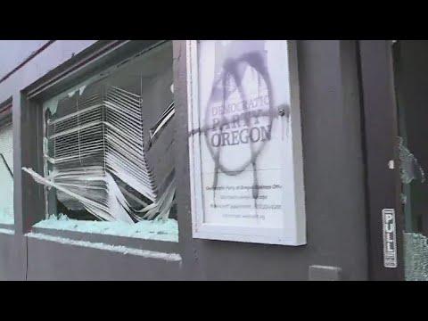 Antifa rioters break windows at Democrat HQ in Portland, spray-paint 'F*** BIDEN!' messages