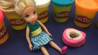 العاب بنات - العاب صلصال باربي تذهب إلى الحمام- play Dough videos Barbie Using The Potty play doh