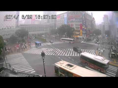 【LIVE CAMERA】渋谷スクランブル交差点 ゲリラ豪雨 2014.6.29