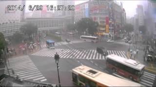 【LIVE CAMERA】渋谷スクランブル交差点 ゲリラ豪雨 2014.6.29 thumbnail