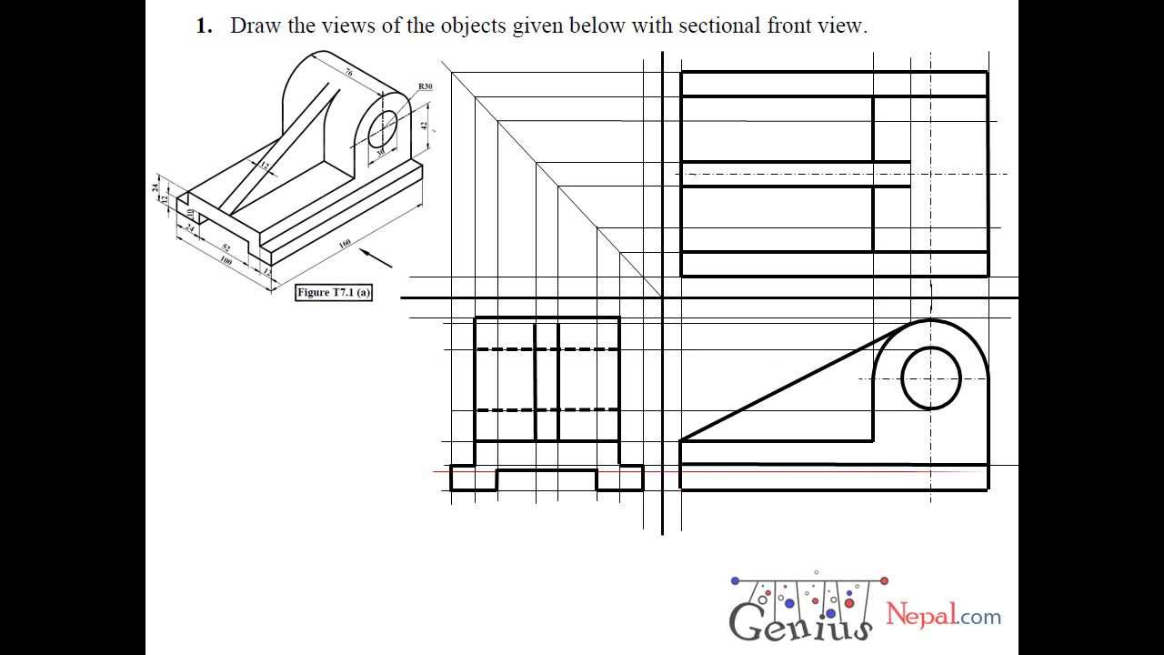 Engineering drawing tutorialsplane geometrical construction with front view side view t 7 1 a