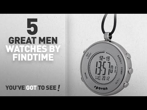Top 10 Findtime Men Watches [ Winter 2018 ]: Spovan Silver Digital Pocket Watches Hiking Altimeter
