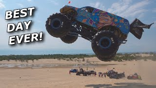 WE DRIVE MONSTER TRUCKS! Biggest dune jump ever? INSANE!