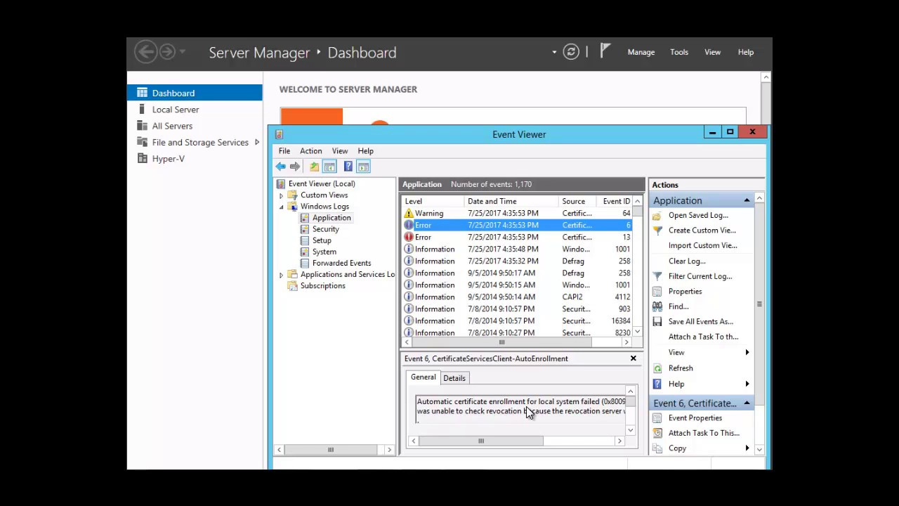 Event Viewer Server 2012R2 - Etechtraining com