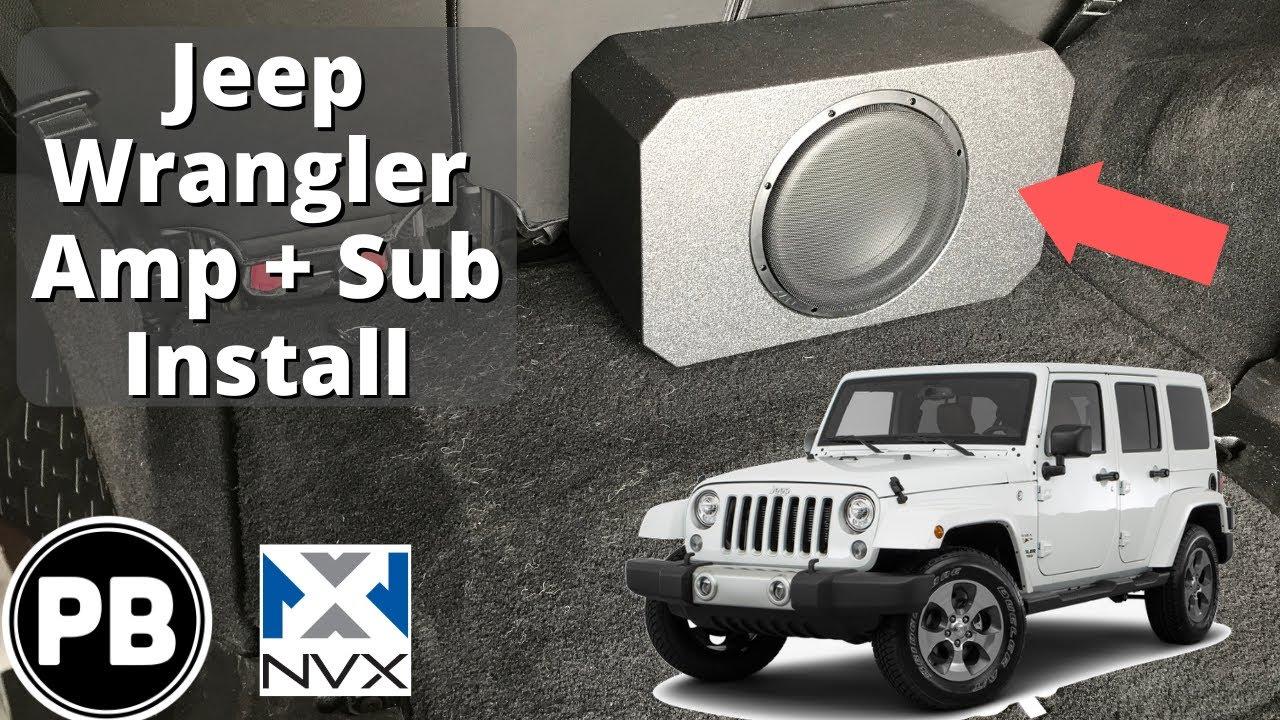 medium resolution of 2007 2017 jeep wrangler nvx sub and amp install provo beast audio installation