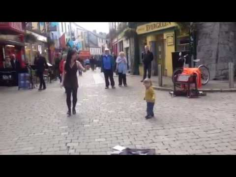 Little Girl Learns to Irish Tap Dance on Galway Street