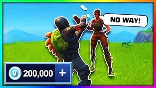 Giving 200,000 V-Bucks To Random People in Fortnite: Battle Royale! ◉_◉