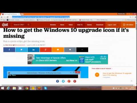 How to get the Windows 10 upgrade Icon if it's missing from the taskbar
