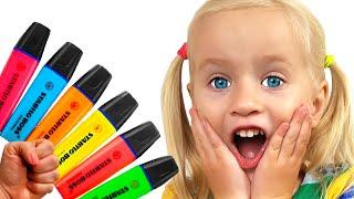 Pretende jugar con su Magic Pen - El niño preescolar aprende color