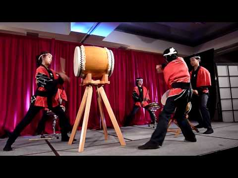Pacific Buddhist Academy (PBA) students perform taiko at Craig Shimizu
