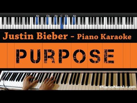 Justin Bieber - Purpose - Piano Karaoke / Sing Along / Cover With Lyrics
