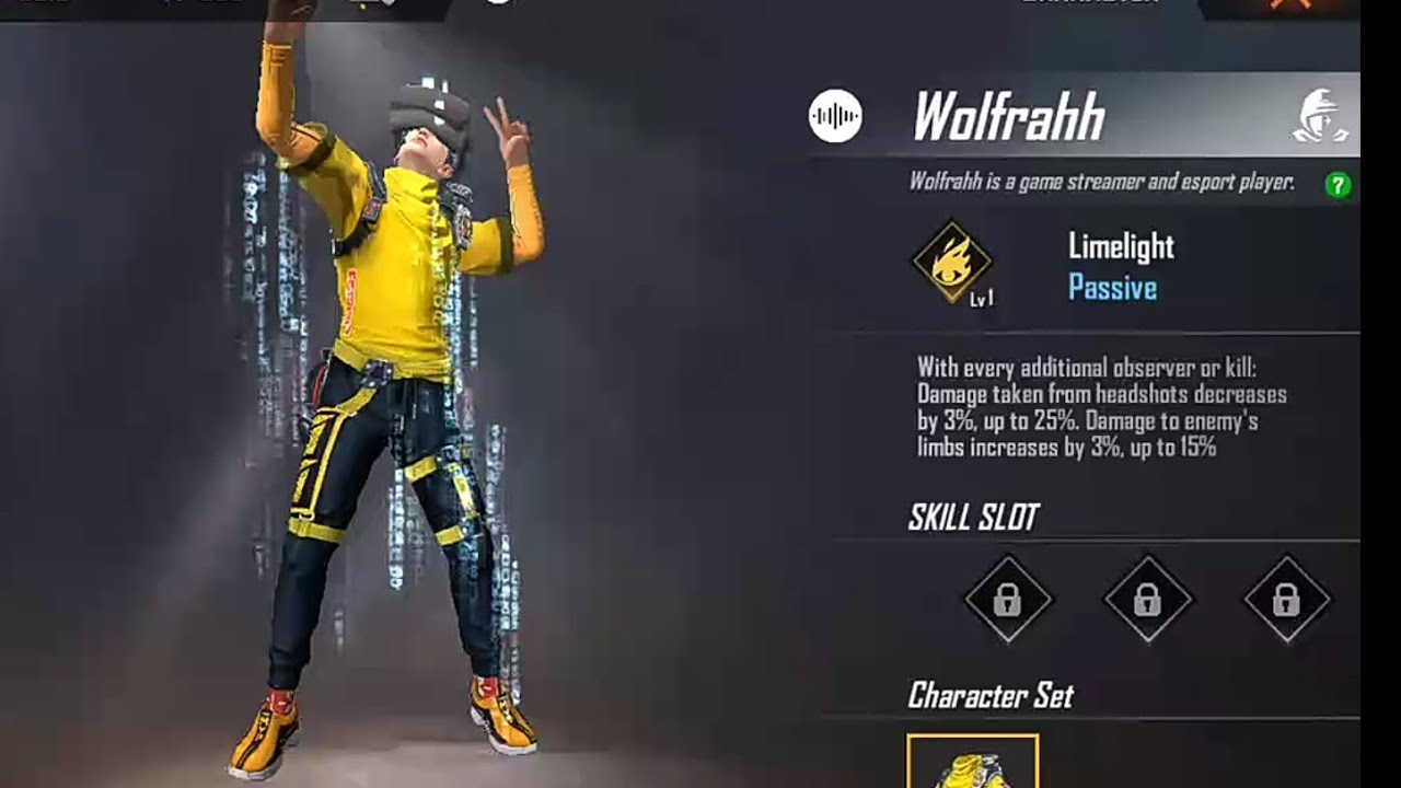 Free fire wolfrahh character ability - YouTube