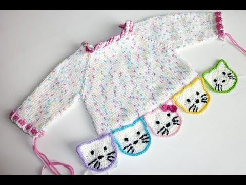 Stricken * Hello Kitty Babypulli * Teil 5 * Ausarbeiten - YouTube