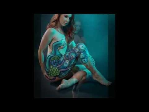 Body Artist - Body Painting Adult Film Star Melody Jordan in a Peacock Design