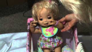 Baby Alive-She makes eating noises when she eats, she burbs and says excuse me, plus more!