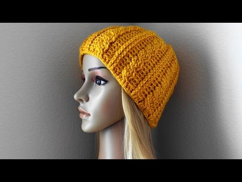How To Crochet A Cable Hat, Lilu's Handmade Corner Video # 104