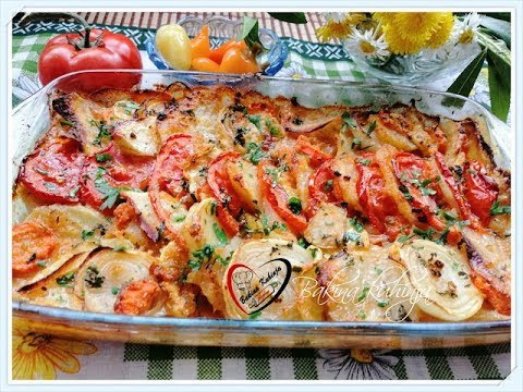 Bakina kuhinja - posni krompir sa tikvicama sa prelivom od šampinjona