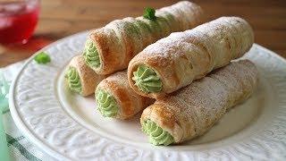 Matcha pie Cornets 抹茶クリームたっぷり~さくさくのパイコルネだよ! ...