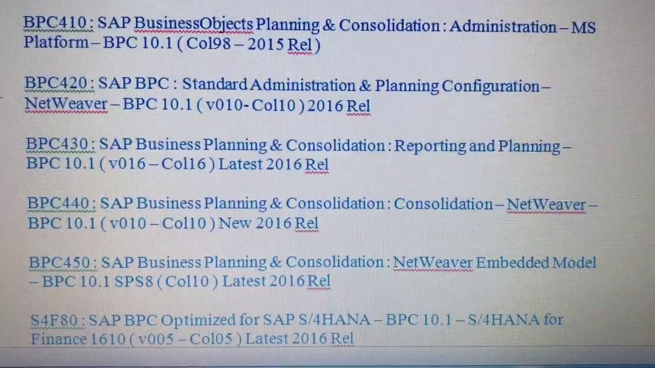 SAP BPC Certification Materials Download
