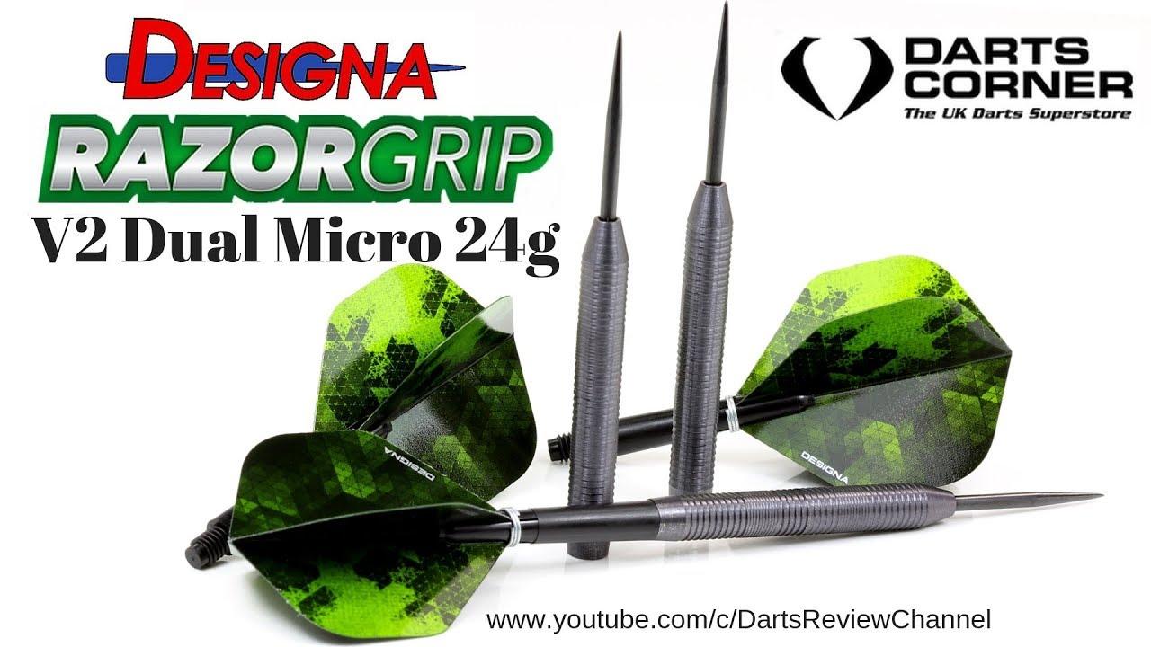 b0e81040 Designa Razor Grip V2 Dual Micro Grip 24g Darts Review - YouTube