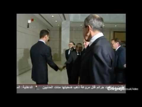Russia's Foreign Minister Sergei Lavrov begin talks with President Bashar al-Assad of Syria