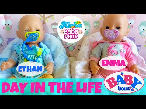 🤗 Wow! Baby Born Twins: Day In the Life - Super Compilation! Feeding + Changing + Outings + Bath!