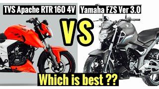Yamaha FZS V3 VS TVS Apache RTR 160 4v | Detailed comparision