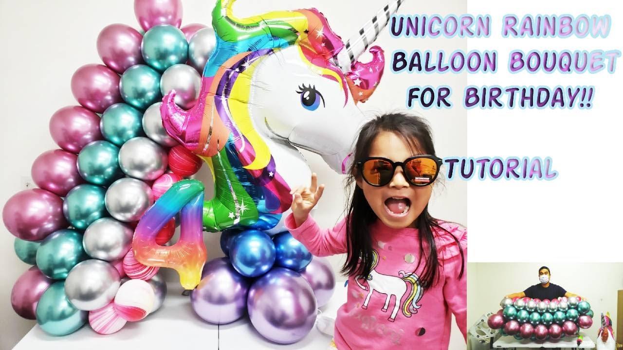 Unicorn Rainbow Balloon Bouquet Tutorial     How to make a unicorn rainbow balloon bouquet    DIY
