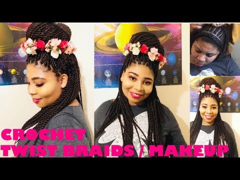 HOW TO DO CROCHET & TWIST BRAIDING. LOOKS REAL PLUS MAKEUP