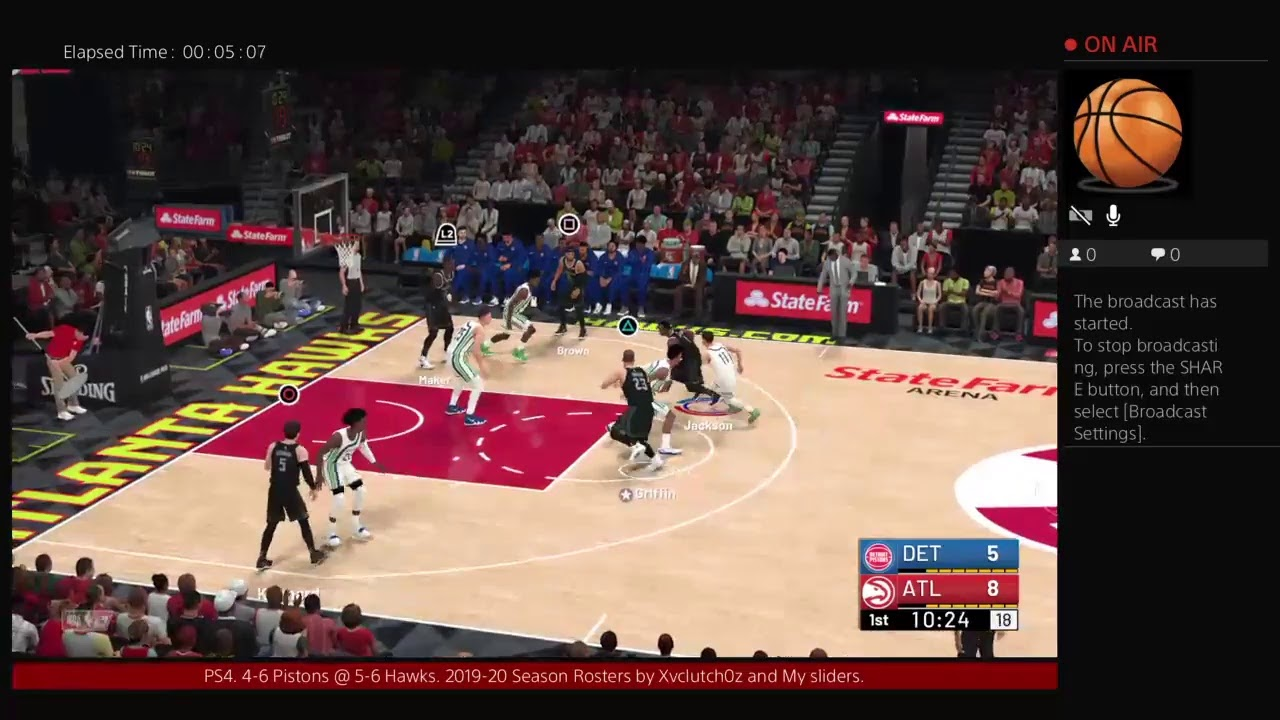 Nba 2k19 4-6 Pistons @ 5-6 Hawks  2019-2020 roster