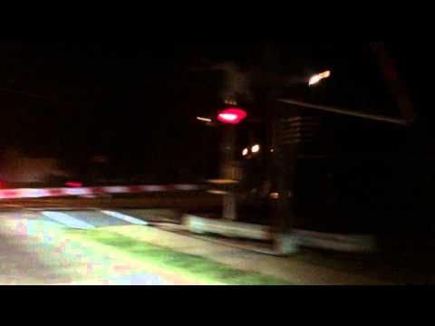 Train going by at night in Germantown IL